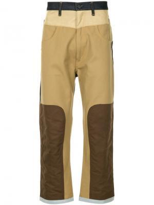 Широкие джинсы дизайна колор-блок Junya Watanabe MAN. Цвет: коричневый