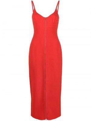 Платье-футляр с молнией David Koma. Цвет: красный