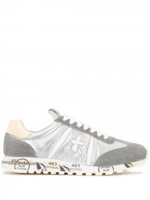 Кроссовки Lucy на шнуровке Premiata. Цвет: серебристый