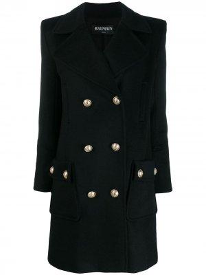 Двубортное пальто Balmain. Цвет: черный