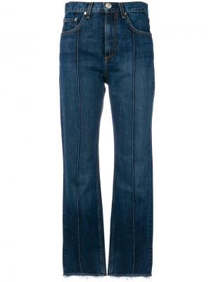Укороченные джинсы со складками Rag & Bone /Jean. Цвет: синий