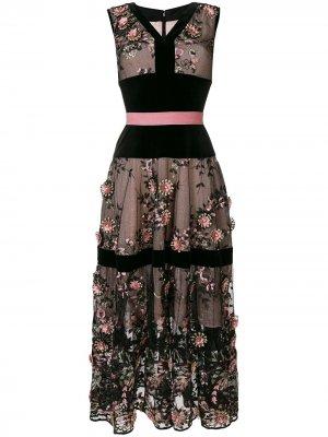 Embroidered tulle dress Talbot Runhof. Цвет: черный