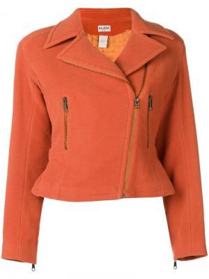 Укороченная куртка с поясом Alaïa Vintage. Цвет: желтый