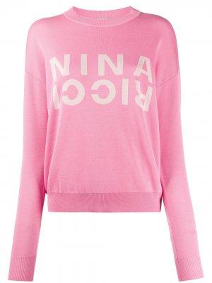 Вязаный джемпер с логотипом Nina Ricci. Цвет: розовый