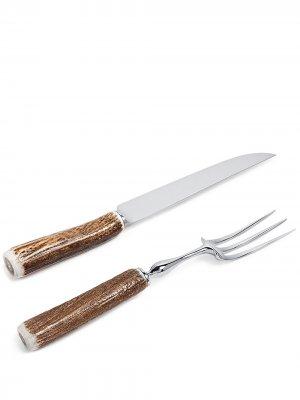 Набор из вилки и ножа с бамбуковой ручкой Lorenzi Milano. Цвет: коричневый