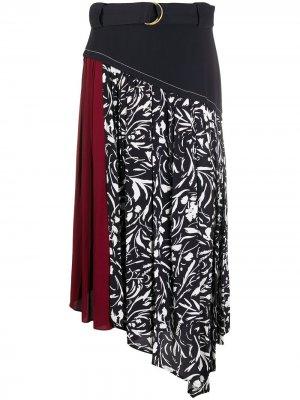 Floral print asymmetric skirt Proenza Schouler. Цвет: черный
