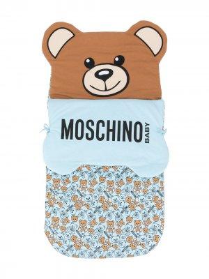 Спальный конверт с логотипом Moschino Kids. Цвет: синий