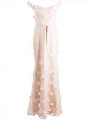 Вечернее платье макси с цветочной вышивкой Marchesa Notte Bridesmaids. Цвет: нейтральные цвета