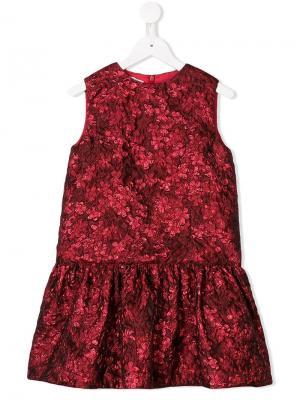 Жаккардовое платье с цветочным узором металлик Oscar De La Renta Kids. Цвет: красный
