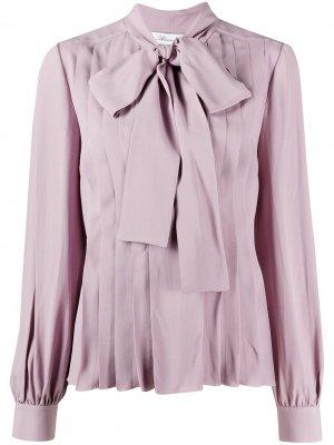 Блузка с бантом и складками Blumarine. Цвет: фиолетовый