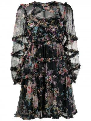 Прозрачное платье с цветочным принтом и оборками Needle & Thread. Цвет: черный