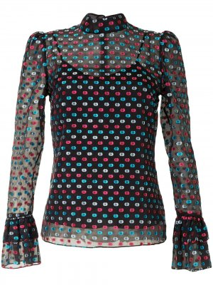 Блузка в горох с оборками Erdem. Цвет: черный