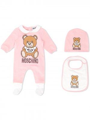 Пижама Teddy с логотипом Moschino Kids. Цвет: розовый