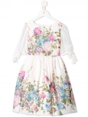 Платье с цветочным принтом Lesy. Цвет: белый
