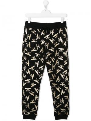 TEEN eagle repeat logo print track pants Boy London Kids. Цвет: черный