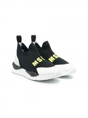 Кроссовки-слипоны с логотипом MSGM Kids. Цвет: черный
