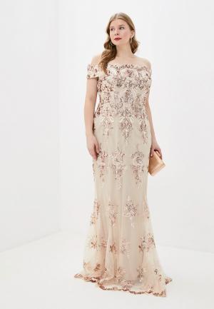 Платье Goddiva Size Plus. Цвет: бежевый