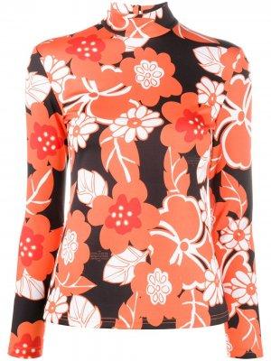 Блузка с цветочным принтом Rokh. Цвет: черный