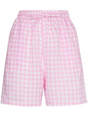Пижамные шорты Lou в клетку гингем Frankies Bikinis. Цвет: розовый