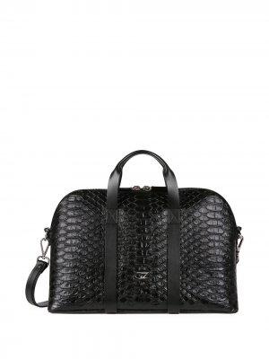 Дорожная сумка с тиснением под кожу змеи Giuseppe Zanotti. Цвет: черный