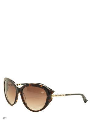 Солнцезащитные очки SK 0067 56F Swarovski. Цвет: коричневый, золотистый