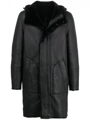 Длинное пальто с капюшоном Yves Salomon. Цвет: черный