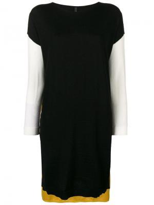 Платье-свитер в стиле колор-блок Pierantoniogaspari. Цвет: черный