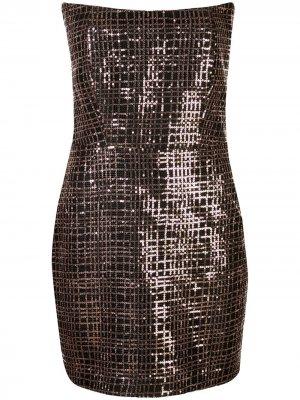 Платье мини с без бретелей пайетками Michelle Mason. Цвет: коричневый