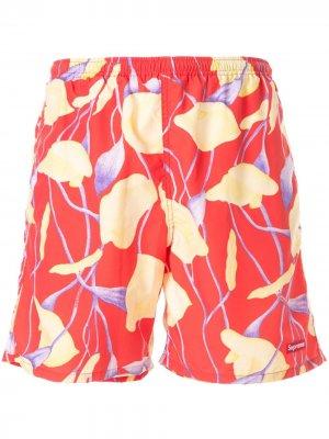 Плавки-шорты с принтом Supreme. Цвет: красный