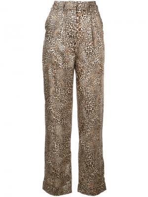 Прямые брюки с леопардовым принтом Ronny Kobo. Цвет: коричневый