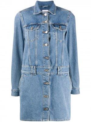 Короткое джинсовое платье GANNI. Цвет: синий