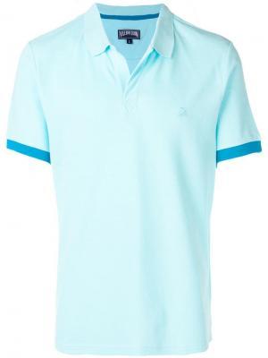 Рубашка-поло с вышитым логотипом Vilebrequin. Цвет: синий