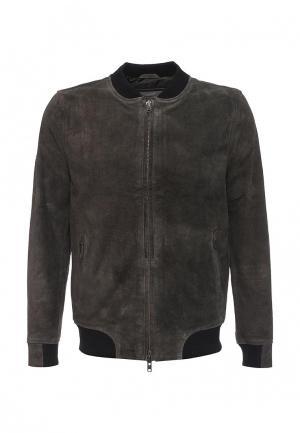 Куртка кожаная Bellfield. Цвет: серый