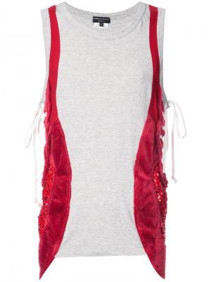 Майка с декоративным жилетом со шнуровкой Comme Des Garçons Homme Plus. Цвет: серый