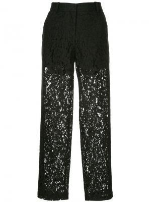 Укороченные брюки с кружевом Robert Rodriguez. Цвет: черный