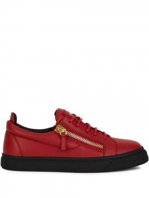 Кроссовки Frankie на молнии Giuseppe Zanotti. Цвет: красный