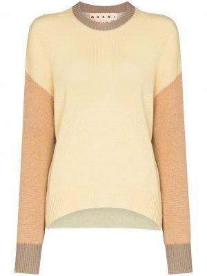 Кашемировый джемпер с контрастными рукавами Marni. Цвет: желтый