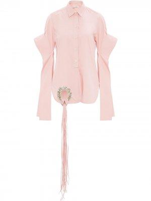 Рубашка с длинными рукавами и закругленным краем JW Anderson. Цвет: розовый