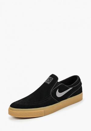 Слипоны Nike. Цвет: черный