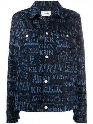 Джинсовая куртка с принтом Kirin. Цвет: синий