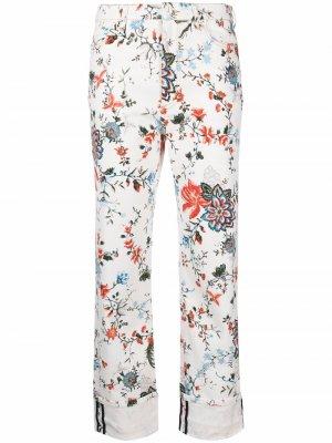 Узкие брюки с цветочным принтом Erdem. Цвет: белый