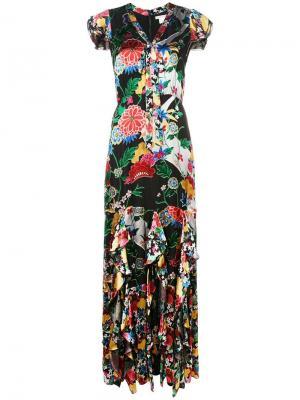 Платье макси с цветочным принтом Alice+Olivia. Цвет: черный