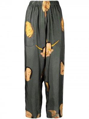 Зауженные брюки с принтом Uma Wang. Цвет: зеленый