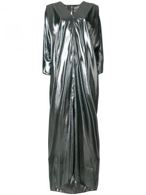 Платье-макси с металлическим отблеском Alberta Ferretti. Цвет: металлик