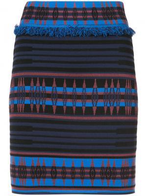 Трикотажная юбка мини Ronny Kobo. Цвет: синий