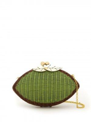 Плетеный клатч SERPUI. Цвет: зеленый