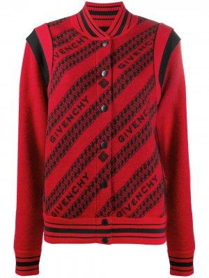 Бомбер с логотипом Givenchy. Цвет: красный