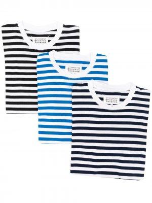 Комплект из трех полосатых футболок Stereotype Maison Margiela. Цвет: синий
