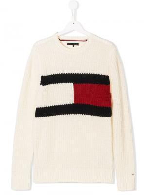 Трикотажный свитер с логотипом Tommy Hilfiger Junior. Цвет: белый