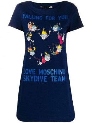 Платье-футболка с принтом Skydiving Love Moschino. Цвет: синий